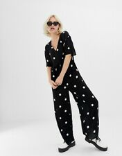 ASOS COLLUSION 12 Oversized Relaxed Black White Spot Polka Dot Jumpsuit Frill