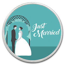 1 oz Silver Colorized Round - APMEX (Just Married - Couple) - SKU #149464