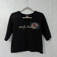 Harley Davidson 3/4 Sleeve Black Crop Shirt Size Large Daytona Beach FL