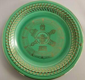 """Vintage Fiesta Ware 1955 Gold-trim Green 10 1/4"""" Good Luck Calendar Plate"""