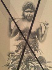 ANTIQUE VINTAGE OLD PHOTO POSTCARD Australian  ABORIGINAL WOMAN Girl Wild flower