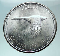 1967 CANADA CANADIAN Confederation Founding with GOOSE Silver Dollar Coin i82031