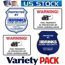 Home Security Alarm Sticker Decal signs Windows Brinks Camera In use Waterproof