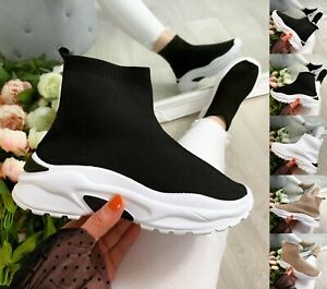 Womens Knit Sock Shoes Chunky Runner Sneakers Stretch Ladies Sport Trainers Size