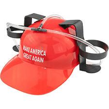 Beer & Soda Guzzler Helmet & Drinking Hat, Red Make America Great Again MAGA NEW