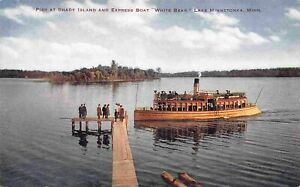 Steamer White Bear Shady Island Pier Lake Minnetonka Minneapolis MN postcard