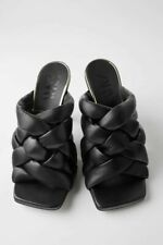 Zara Quilted Braided Leather High-Heel Mule Sandals UK8 BNWT RRP£90