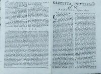 1802 GAZZETTA UNIVERSALE: NAPOLEONE; OSTENSIONE MADONNA DI PRATO; LIQUORE DENTI