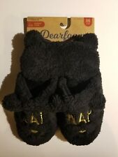 Dearfoams Scuff slippers and Sleep Mask set Cat Nap Theme Black/Gold  MED 7/8