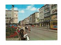 AK, Karlsruhe, Kaiserstraße, belebte Straße, Personen, Straßenbahn, Geschäfte