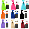 Men Satin Solid Color Wide 8cm Necktie 4 Point Pocket Square Hanky Cufflinks Set
