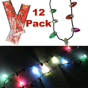 Christmas Light Up Bulb Necklaces, Ugly Sweater Party Favor Xmas Necklace 12Pack