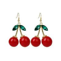 1 Pair Women Lovely Cherry Drop Dangles Rhinestone Ear Studs Earrings Gift JT
