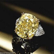 Certified 10.00ct Yellow Cushion Diamond Three Stone Engagement 14K Gold Ring