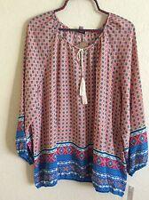 Counterparts Peasant Top Blouse Tunic Shirt Boho Coral Floral XL X-Large #N1011