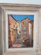 Ruelle dans village peinture. Alley in village painting  provence couleur fauve
