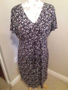 Monsoon Bird Print Jersey Dress UK 18