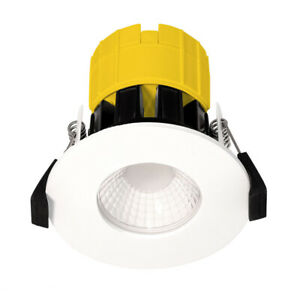 Luceco Dim2warm Ftype fixed fire rated led downlight white 460lm 6w 220-240v