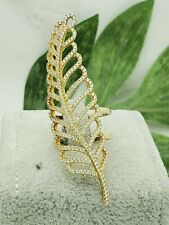 Long Silver CZ Feather Ring, Estate Jewelry, Sterling Silver SS, Gold Overlay