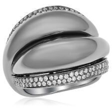 Sleek Right Hand Cocktail Fashion Ring 18K Black Gold Pave Diamond Wide