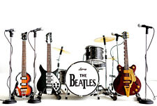 The Beatles Miniature Guitar Ed Sullivan Set of 4 Guitar & Drums Super Mini 4Mic