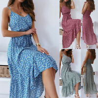 ❤️Womens Boho Floral Print Maxi Dress Ladies Summer Beach Ruffle A-Line Sundress