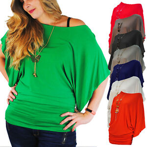 LADIES LOOSE FIT BATWING TOP ROUCHED SIDES FREE NECKLACE NAVY RED PINK 10 - 14