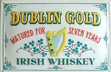 "DUBLIN GOLD IRISH WHISKEY 8"" X 12"" EMBOSSED METAL SIGN WITH HARP AND SHAMROCKS"