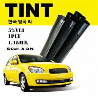New Black Glass Window Tint Shade Film VLT 5% Auto Car House Roll 50cm*2M