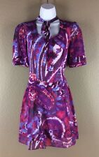 Walter Dress 0 Purple Red Blue Water Color Paisley Shift Short Sleeve Hipster