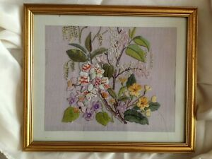 """Lovely Floral Embroidery Picture in Gilt Frame - 13"""" x 11"""""""