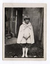 PHOTO Enfant Fashion Fille Mode 1930 Cape Manteau Blanc Noeud Coiffure Portrait