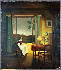 """Ancien Tableau """"La Lecture"""" Peinture Huile Antique Oil Painting"""
