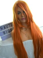 "LONG 42"" ORANGE GRUNGE PUNK HAIR LAYERED WIG FRINGE BANGS SILKY COSPLAY REDHEAD"