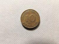 1950 BUNDESREPUBLIK DEUTSCHLAND 10 PFENNIG F COIN!   DD515XXX