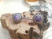 Charite natural purple gemstone and sterling silver drop vintage earrings signed