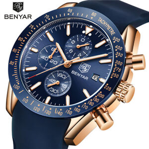BENYAR Military Watch for Men Sport Quartz Wristwatch Silicone Band Date Display