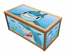 SHARK - Wooden Toy Box / Chest Box / Storage Box for Kids Children