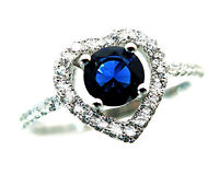 925 Sterling Silver .45 Carat Blue Sapphire CZ Crystal Halo Heart Ring Size 6-8