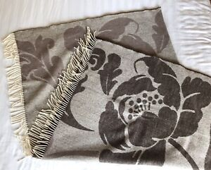 """DESIGNERS GUILD Coffee Brown Neutral Floral Merino Wool Throw Fringed 54"""" x 65"""""""