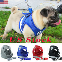 Small Light Dog Mesh Harness Vest Collar Soft Chest Strap  Leash Set Reflective