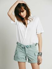 NWT Free People Cargo Foldover Shorts Button Fly Sz 30 10 Green Tea