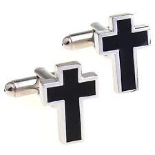 Negro Cruz Crucifijo Cufflinks