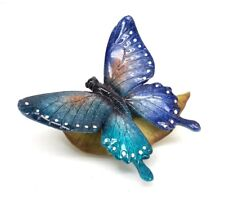 Blue Butterfly on Leaf Figurine Garden Insect Statue Collectible New