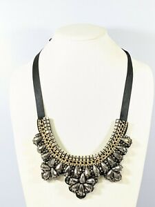 Gray Glass Bead Crystal Black Ribbon Tie Back Felt Statement necklace 30 Inches