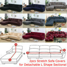 2pcs Stretch Sofa Cover Corner Couch Protector for Detachable L Shape Sectional