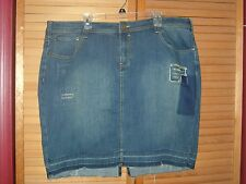 Lane Bryant 24 Stretch Destructed Denim Jean Released Hem Mini Skirt 24W 2X 3X