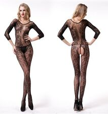 Black Quality Seamless Floral Crotchless Design Bodystocking Lingerie, UK 6-12