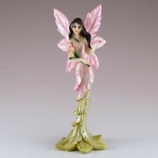 "Mini Pink Feather Fairy With Flowers Figurine 5"" High Resin New!"