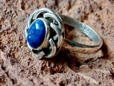 Vintage Sterling Silver 15mm Ring with an Oval Lapis Stone Uk size O £25.95 Nwt